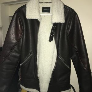 MEMBERS ONLY TWO-TONE BROWN LEATHER JACKET
